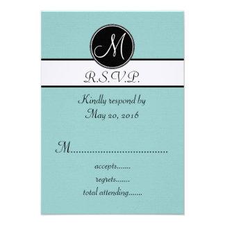 Monograma branco do preto azul que Wedding cartões Convite Personalizado