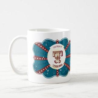 """Monograma branco e azul vermelho """"T """" do circo do Caneca De Café"""