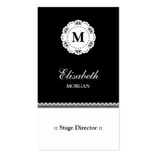 Monograma branco preto do diretor de palco laço cartão de visita