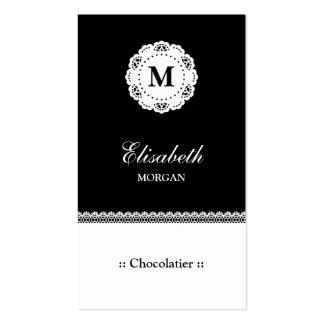 Monograma branco preto do laço de Chocolatier Cartão De Visita