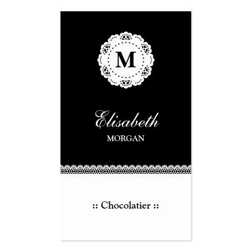 Monograma branco preto do laço de Chocolatier Modelo Cartoes De Visita