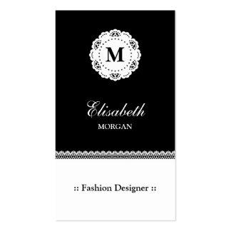 Monograma branco preto do laço do desenhador de mo modelos cartão de visita