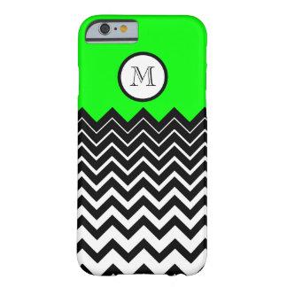 Monograma branco preto verde de néon do ziguezague capa barely there para iPhone 6