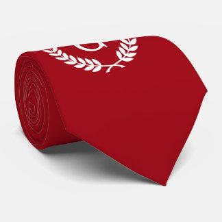 Monograma branco vermelho da inicial da grinalda gravata