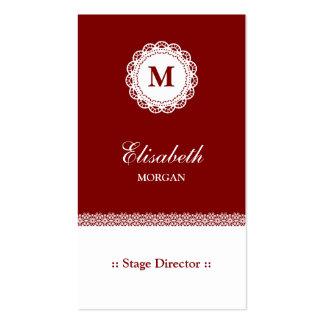 Monograma branco vermelho do diretor de palco laço cartão de visita