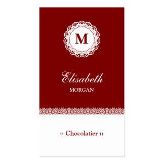 Monograma branco vermelho do laço de Chocolatier Cartão De Visita