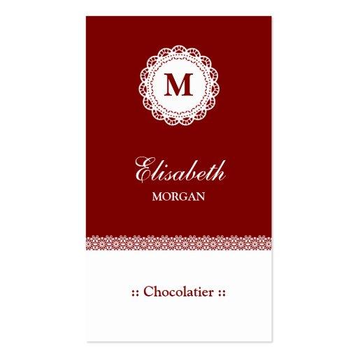 Monograma branco vermelho do laço de Chocolatier Cartões De Visita