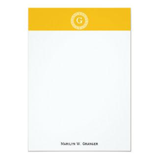 Monograma chave grego branco Goldenrod da inicial Convite 12.7 X 17.78cm