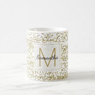 Monograma chique dos confetes do ouro caneca de café