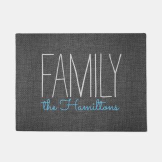 Monograma chique rústico da família em CINZENTO E Tapete