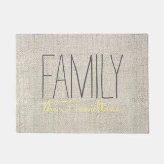 Monograma chique rústico da família NO AMARELO Tapete