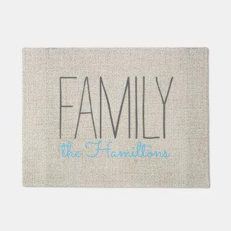 Monograma chique rústico da família no AZUL Tapete