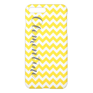 Monograma cinzento branco amarelo do roteiro de capa iPhone 7 plus