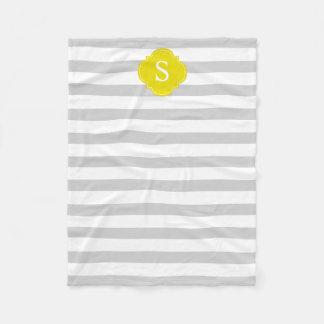 Monograma cinzento e amarelo das listras cobertor de lã