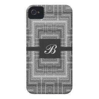 Monograma cinzento e branco customizável capa para iPhone 4 Case-Mate