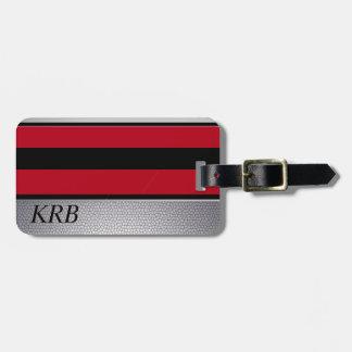 Monograma cinzento vermelho preto do design da etiqueta de bagagem