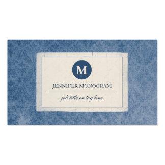 Monograma clássico do damasco do vintage (azul) cartão de visita