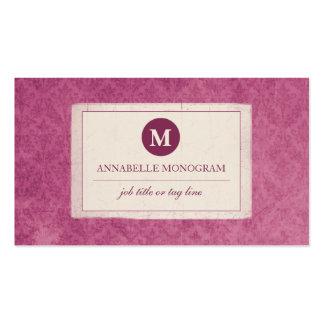 Monograma clássico do damasco do vintage (rosa cartão de visita