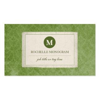 Monograma clássico do damasco do vintage (verde) cartão de visita