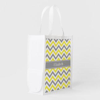 Monograma conhecido cinzento cinzento amarelo do sacola reusável