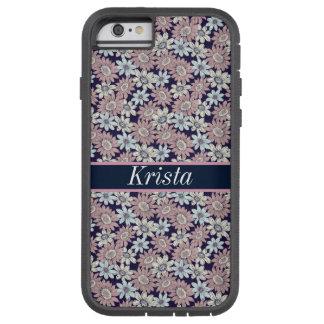 Monograma conhecido floral bonito do teste padrão capa tough xtreme para iPhone 6