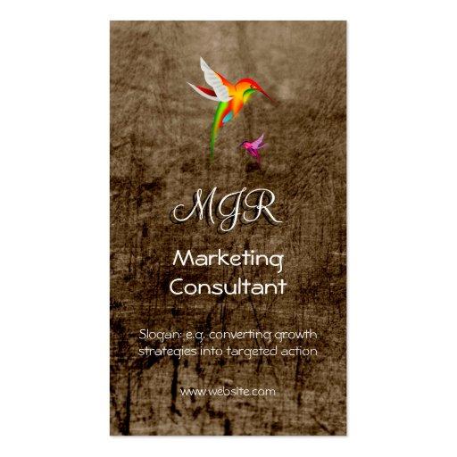 Monograma, consultor de marketing, couro-efeito modelo cartões de visita