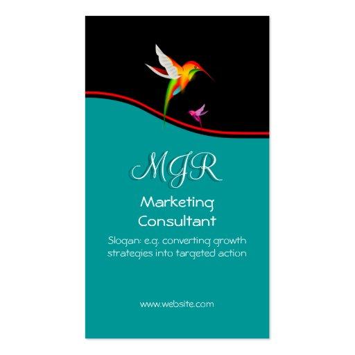 Monograma, consultor de marketing, swoosh vermelho cartoes de visitas