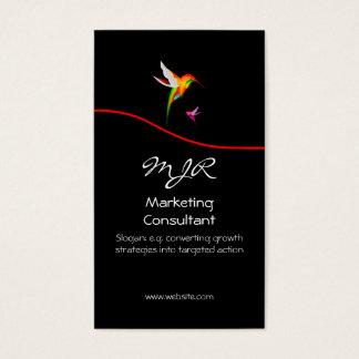 Monograma, consultor de marketing, swoosh vermelho cartão de visitas