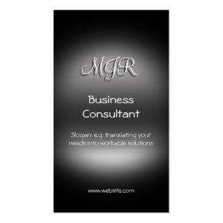 Monograma, consultor empresarial, metal-olhar cartoes de visita