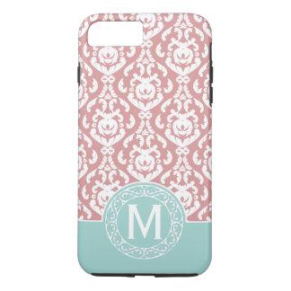 Monograma cor-de-rosa azul do damasco capa iPhone 7 plus