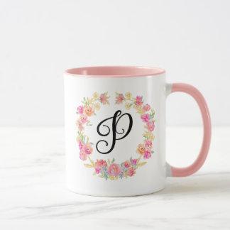 Monograma cor-de-rosa bonito (P) caneca da