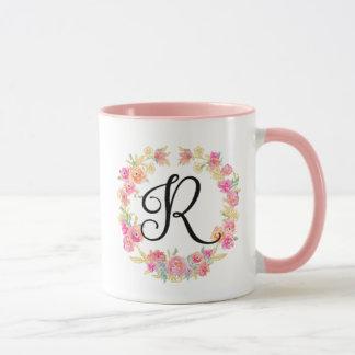 Monograma cor-de-rosa bonito (R) caneca da