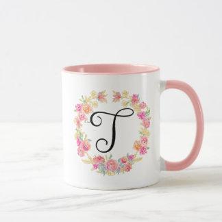 Monograma cor-de-rosa bonito (T) caneca da