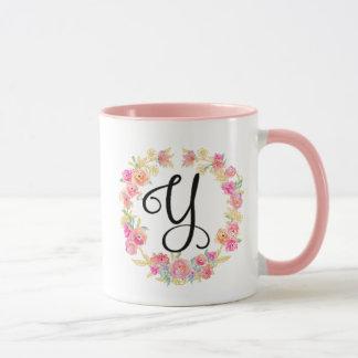 Monograma cor-de-rosa bonito (Y) caneca da