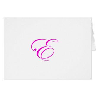 Monograma cor-de-rosa E Cartão Comemorativo