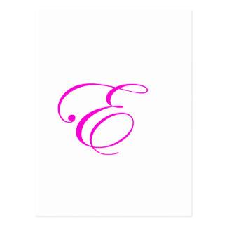 Monograma cor-de-rosa E Cartão Postal