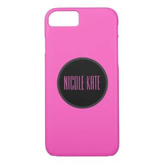 Monograma cor-de-rosa feminino capa iPhone 7