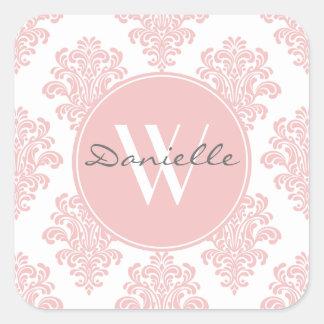 Monograma cor-de-rosa feminino do damasco adesivo quadrado