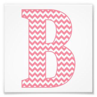 Monograma cor-de-rosa formal clássico da letra B Impressão De Foto