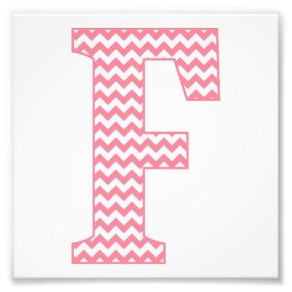 Monograma cor-de-rosa formal clássico da letra F Impressão De Foto