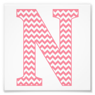 Monograma cor-de-rosa formal clássico da letra N Impressão De Foto