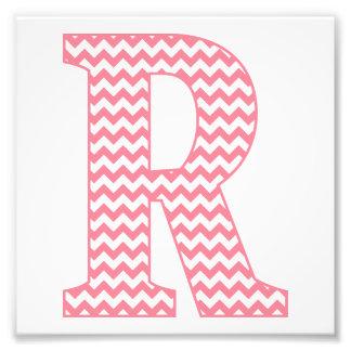 Monograma cor-de-rosa formal clássico da letra R Impressão De Foto