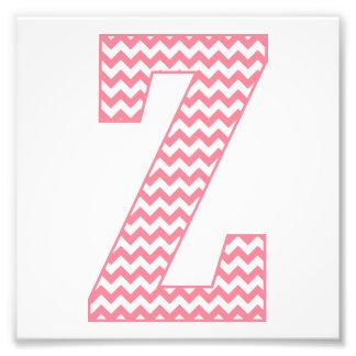 Monograma cor-de-rosa formal clássico da letra Z Impressão De Foto