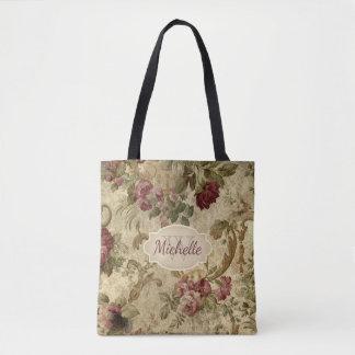 Monograma cor-de-rosa & nome do vinho floral do bolsas tote