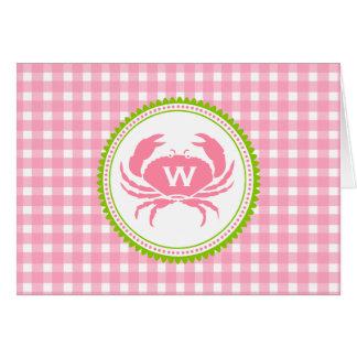 Monograma cor-de-rosa Notecard do guingão & do Cartão De Nota