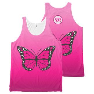 Monograma cor-de-rosa vibrante da borboleta de regata com estampa completa