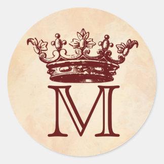 Monograma da coroa do vintage adesivo