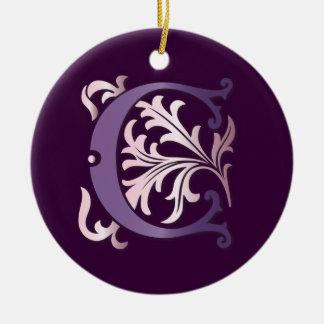 Monograma da flor de lis C Ornamento De Cerâmica Redondo