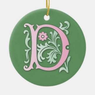 Monograma da flor de lis D Ornamento De Cerâmica Redondo