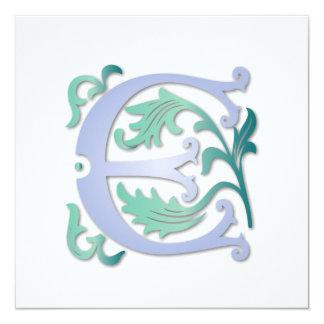 Monograma da flor de lis E Convite Quadrado 13.35 X 13.35cm